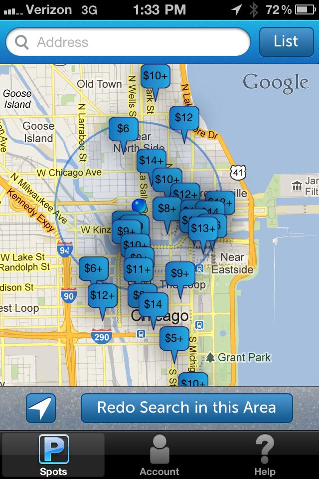 I drømmescenariet for pocketsourcing, så er alle tilmeldt, og så vil det se sådan her ud, når du beder din navigationsenhed om en oversigt over fri parkeringspladser i nærheden. (PR Foto)