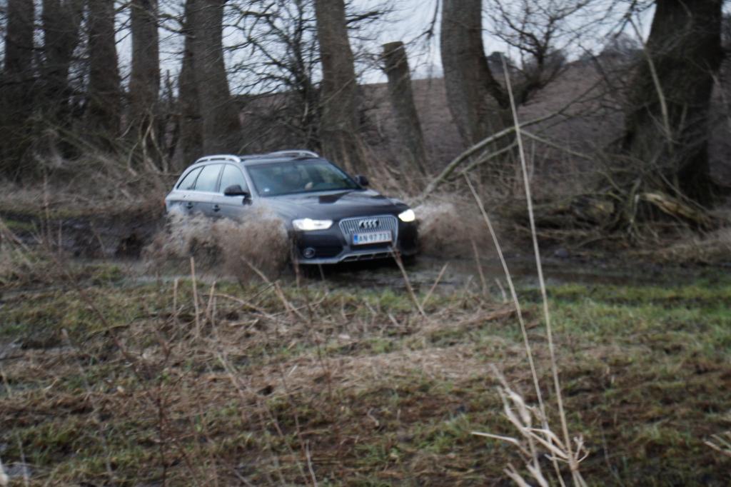 Allroad betyder faktisk, at Audi A4 Allroad kan klare sig på alle veje. Måske ikke i regulært terræn. Men er der et hjulspor, så kommer den frem...