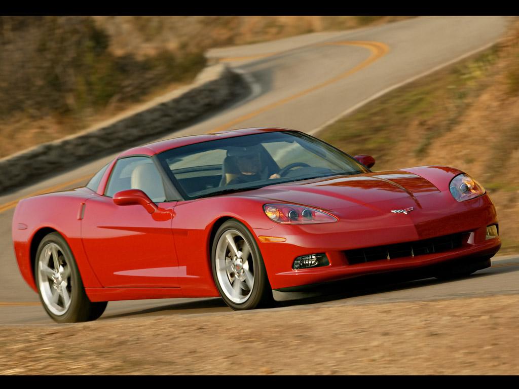 En Corvette C6 fra 2005 æder en kurve. Den er god nok. Det var den rigtig god til.