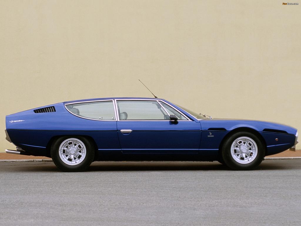 Lamborghini Espada er i virkeligheden fra slutningen af 1960erne. Men tjek den lavtflydende og selvfede form. Den er fantastisk!