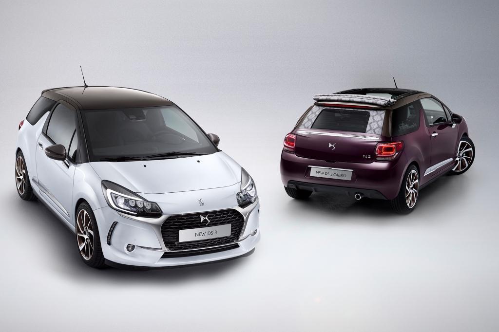 DS 3 efter faceliftet der introduceres i Danmark til foråret. Citroën-logoerne er væk på modellen der både kommet som hatchback og cabriolet.