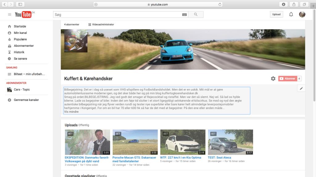 Sådan ser den ud. Den nye youtubekanal. Afsted med dig. Ind og tjek den ud – søg på Kuffert & Kørehandsker.