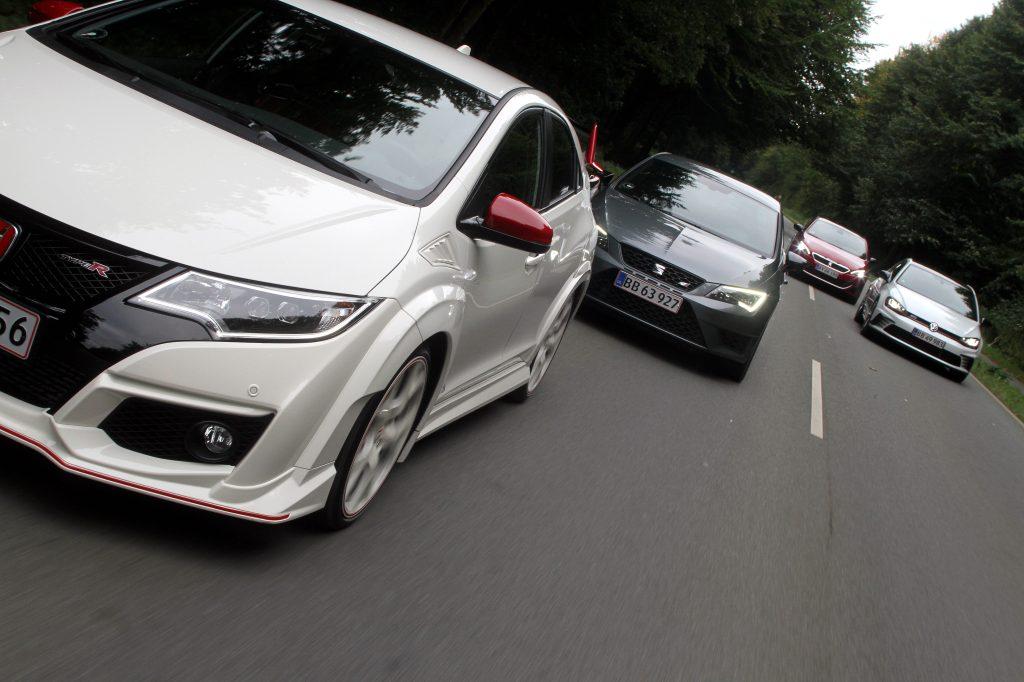 Hele feltet samlet: Honda Civic Type R, Seat Leon Cupra 290, Peugeot 308 GTI og Volkswagen GTI Clubsport.